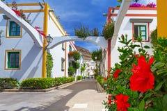 Architecture of Puerto de Mogan, a small fishing port on Gran Canaria Stock Image