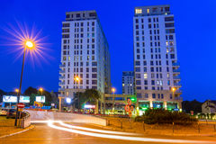 Architecture of Quattro Towers in Gdansk Wrzeszcz at night Royalty Free Stock Image
