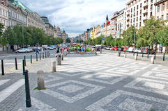Architecture représentative de Wenceslas Square à Prague photos stock