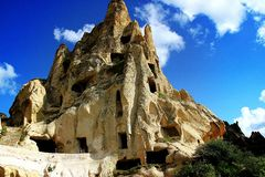 Architecture on the rocks. The ancient rock city in central Anatolia Stock Image