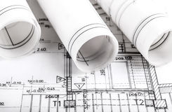 Architecture rolls architectural plans project architect Royalty Free Stock Images