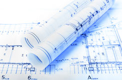 Architecture rolls architectural plans project architect Stock Photography
