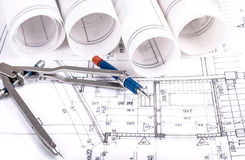 Architecture rolls architectural plans project architect Royalty Free Stock Photo