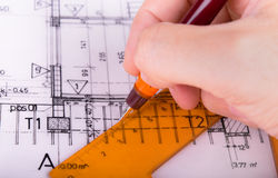 Architecture rolls architectural plans project architect Stock Photos