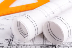 Architecture rolls architectural plans project architect Royalty Free Stock Photography