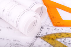 Architecture rolls architectural plans project architect Stock Photo