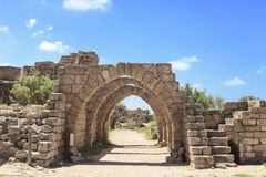 Architecture of the Roman period in Caesarea national Park on the Mediterranean coast. Of Israel royalty free stock image