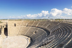 The architecture of the Roman period in the national park Caesarea. Roman amphitheater in the national park Caesarea on the Mediterranean coast of Israel stock image