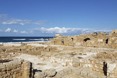 The architecture of the Roman period in the national park Caesarea. On the Mediterranean coast of Israel royalty free stock photo