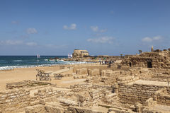 The architecture of the Roman period in the national park Caesarea. On the Mediterranean coast of Israel royalty free stock image