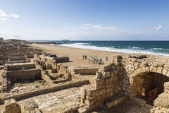 The architecture of the Roman period in the national park Caesarea. On the Mediterranean coast of Israel stock photography