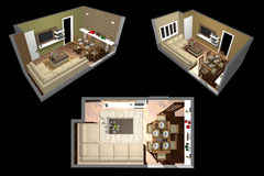 Architecture - Room 3D Stock Photo