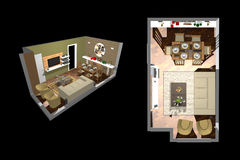 Architecture - Room 3D. Architecture - Top and high angle views of a room - 3D model royalty free illustration