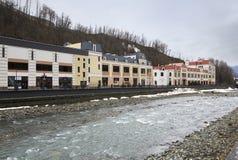 Architecture in Rosa Khutor Alpine Resort Royalty Free Stock Image