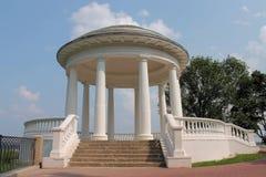 Beautiful white rotunda. Nineteenth-century Rotunda on the Vyatka River in the city of Kirov. Coastal rotunda in the Alexander Park city Kirov in Russia Stock Image