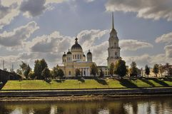 Architecture of Rybinsk town, Russia. Transfiguration cathedral Stock Photography