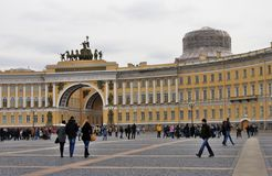 Architecture of Saint-Petersburg, Russia. People walk on Dvortsovaya Square Stock Photography