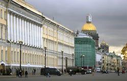 Architecture of Saint-Petersburg, Russia. People walk on Dvortsovaya Square Stock Photo