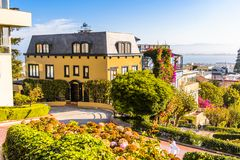 Architecture of San Francisco, USA. SAN FRANCISCO, USA - OCT 5, 2015: Famous wavy Lombard street on Russian hill in San Francisco. SF is the cultural, commercial Stock Photos