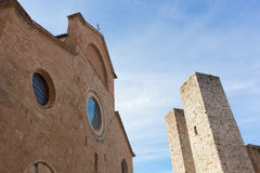 Architecture of San Gimignano, small medieval village of Tuscany Stock Photos