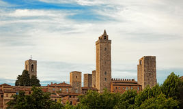 Architecture of San Gimignano, small medieval village of Tuscany Royalty Free Stock Image