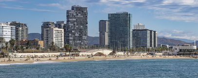 Architecture Sant Marti district in Barcelona. BARCELONA, SPAIN - JULY 13, 2016: Beach and New buildings at Sant Marti district, Barcelona, Spain stock photo
