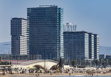 Architecture Sant Marti district in Barcelona. BARCELONA, SPAIN - JULY 2, 2016: Beach and New buildings at Sant Marti district, Barcelona, Spain stock images