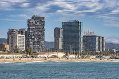 Architecture Sant Marti district in Barcelona. BARCELONA, SPAIN - JULY 13, 2016: Beach and New buildings at Sant Marti district, Barcelona, Spain stock image