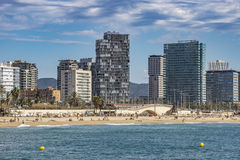 Architecture Sant Marti district in Barcelona. BARCELONA, SPAIN - JULY 13, 2016: Beach and New buildings at Sant Marti district, Barcelona, Spain royalty free stock photo