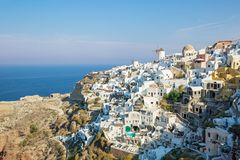 Architecture on Santorini Island. Greece, on the background of the sea Stock Images