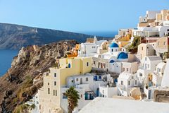 Architecture on Santorini Island. Greece, on the background of the sea Stock Photography