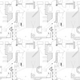 Architecture scheme background. Seamless pattern of abstract building plan. Vector. House plan. Stock Photography