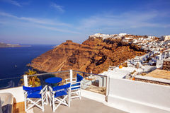 Architecture with a sea view in Fira village, Santorini Royalty Free Stock Photo