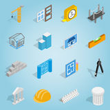 Architecture set icons, isometric 3d style Royalty Free Stock Images