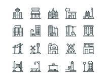 Architecture. Set of outline vector icons. On a white background Royalty Free Stock Photo