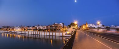 Architecture of Seville along Guadalquivir River. Seville, Andalusia, Spain stock photography