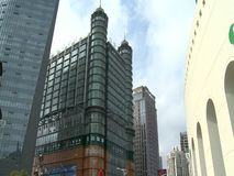 Architecture of Shanghai city. Architecture of beautiful Shanghai city skyscrapers stock video