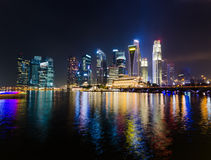 Singapore city skyline at night Stock Image
