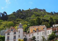 Architecture In Sintra Portugal With The Castle Of The Moors stock images