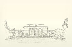 Architecture. Sketch. Drawing of building Royalty Free Stock Photography