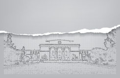Architecture. Sketch. Drawing of building Stock Image