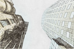 Architecture Sketch Of Old Vs New Concept royalty free illustration