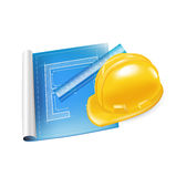 Architecture sketch with ruler and hard helmet Royalty Free Stock Photography