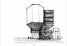 Architecture sketching Drawing design House Building sketch