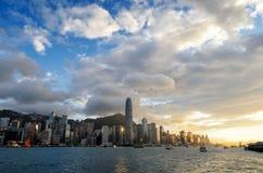 Skyline of Hong Kong at sunset Stock Images
