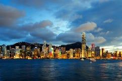 Skyline of Hong Kong at sunset Royalty Free Stock Image