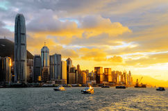 Skyline of Hong Kong at sunset Stock Image