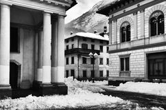 Architecture of snowy town Stock Photography