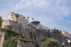 Architecture of Sorrento town in Italy. Buildings on the cliff in Sorrento town in Italy Stock Images