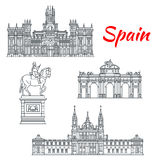 Architecture of Spain buildings vector icons Stock Photos